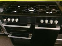 Black belling 90cm five burners dual fuel cooker grill & double fan oven good condition with gu