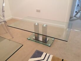 Glass Coffee Table Rectangle with Steel Base