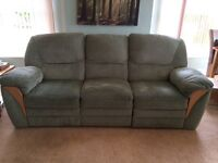 Two Reclining Sofas, Apple green, material, 2 & 3 seater