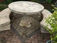 Stone round table and 2 stone curved benches