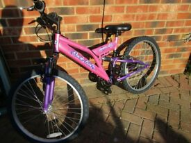 OLDER GIRLS ROCK FOX REFLEX PINK DUAL SUSPENSION 18 SPEED MOUNTAIN BIKE WITH SUSPENSION