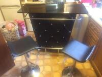 Beautiful black and chrome home bar /table 2 chairs wine rack