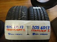 MATCHING PAIR 205 40 17 CONTI SPORT 5s 7mm tread £70 P[AIR SUP & FITD (loads more av} TXT S
