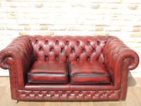 Ox Blood Sofa Chesterfield high quality vintage (Delivery)