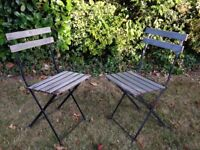 2 Vintage French Folding Garden Cafe Bistro Chairs
