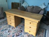 Solid Pine Office Desk with six drawers