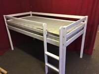 WHITE PINE MID SLEEPER SINGLE BED WITH MATTRESS,CAN DELIVER