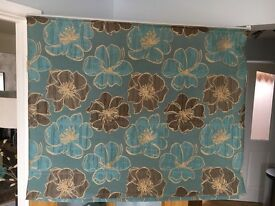 2 blue made to measure roman blinds . Lined
