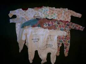 0-3 Month Sleepsuits X10