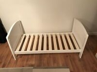 Cot Bed, Drop Side in white, almost immaculate, with matress protected from new