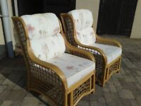 Cane conservatory chairs with cushions