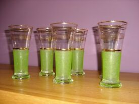 Vinage set of 6 Green Frosted / Gold Band Glasses 1950's