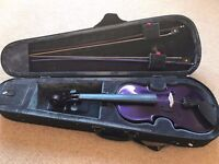 Purple Rainbow Violin with Bows and Case