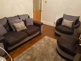 Black and grey 3 seater sofa and cuddle chair with foot stool