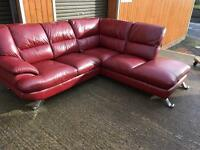 Red leather corner suite. FREE DELIVERY within a 10 mile radius of BELFAST! Bargain at this money.