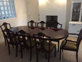Mahogany Regency Style Dining Table & Matching Chairs