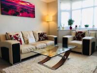 Italian cream leather sofa and armchair