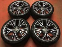 20'' GENUINE AUDI A7 S LINE ULTRA ALLOY WHEELS TYRES ALLOYS A5 A6 MULTISPOKE BLACK EDITION
