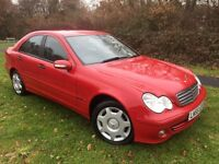 MERCEDES C CLASS 180 KOMPRESSOR AUTOMATIC 55 REG IN RED WITH BLACK TRIM, 1 OWNER AND FULL HISTORY