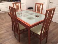 Extendable Dining room glass top table