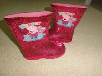 Girls Peppa Pig Wellies size 8 and cute rabbit slippers
