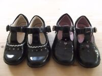 2 x Pairs of Clark's light-up girls shoes - size 5.5 F - patent