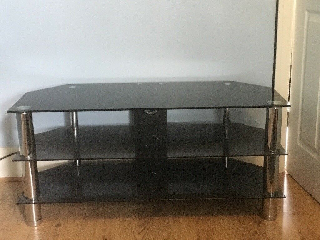 Chrome And Black Glass Tv Stand For Up To 55 Inch Tvs In Cookridge