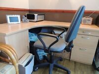 Corner Desk. Ideal for home office. Cabinet and 3 Drawer Unit attached.