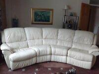 cream leather 4 seater corner recliner sofa for sale
