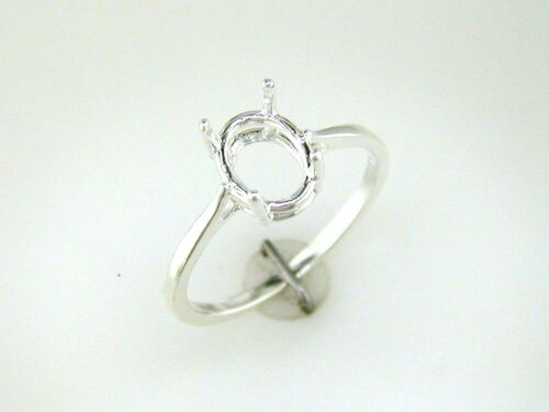 (7 x 5 mm - 10 x 8 mm) Oval 4 Prong Simple Ring Setting Sterling Silver