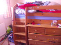 Cabin bed with book shelf, chest of drawers and bedside desk