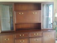 Mahogany sideboard and wall unit. Internal lights.79 inches wide, 71inches tall and 18 inches deep