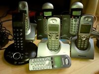 Must go ! 7 phones -3 Panasonic , 2 BT , 2 Binatone