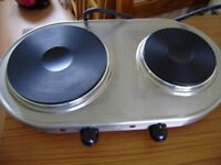 Cooker, portable double hob with 2 cast iron plates cooker by Russell Hobbs
