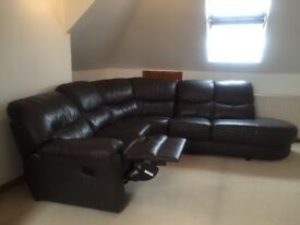 Reclining leather corner sofa and armchair