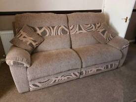 3 Seater fabric sofa and electric recliner chair