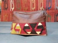 Handmade vintage turkish kilim and reclaimed leather wash / makeup bag made in the UK boho ethnic