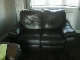 Leather 3 seater recliner and 2 seater recliner