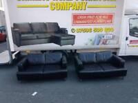 2×2 brown leather sofa