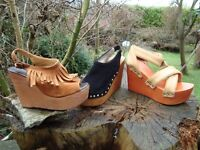 bundle job lot size 4 platform wedge heels rringe retro vintage style 70s Boho Hippy shoes sandals