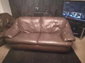 3 Seater Brown Leather Couch - Good condition