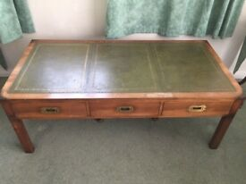 RETRO/VINTAGE STYLE LEATHER TOP THREE DRAW COFFEE TABLE VERY NICE ITEM LOCAL DELIVERY POSSIBLE