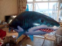 Air swimming giant shark with helium gas tank for around twenty balloons