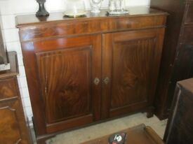 QUALITY MAHOGANY NARROW CABINET. LOCK & KEY. ADJUSTABLE SHELVES. VIEWING/DELIVERY AVAILABLE