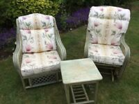 Garden Conservatory Twin Chair & Table Set with Matching Cushions