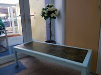 Retro meets Shabby Chic! 70's/80's style coffee table with inset panel & chalk painted wooden frame