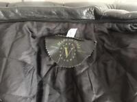 Black Leather bomber jacket Large