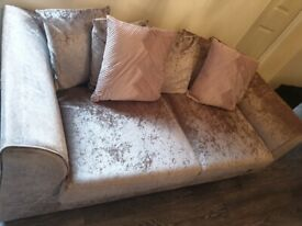 Crushed velvet sofa couch 3 seater