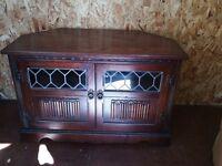 Old Charm TV Media Cabinet, Solid Oak.