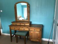 Wooden dressing table & chair with 2 x matching wardrobes (can be bought separately)